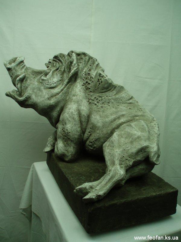 Зачарованный Кабан. Искусственный камень. Н-51см.х60см.51см. 2005г.