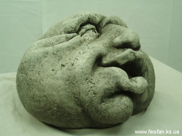 Каменные головы. Борюсик. Искусственный камень. Н-17см.о26см. 2006г.