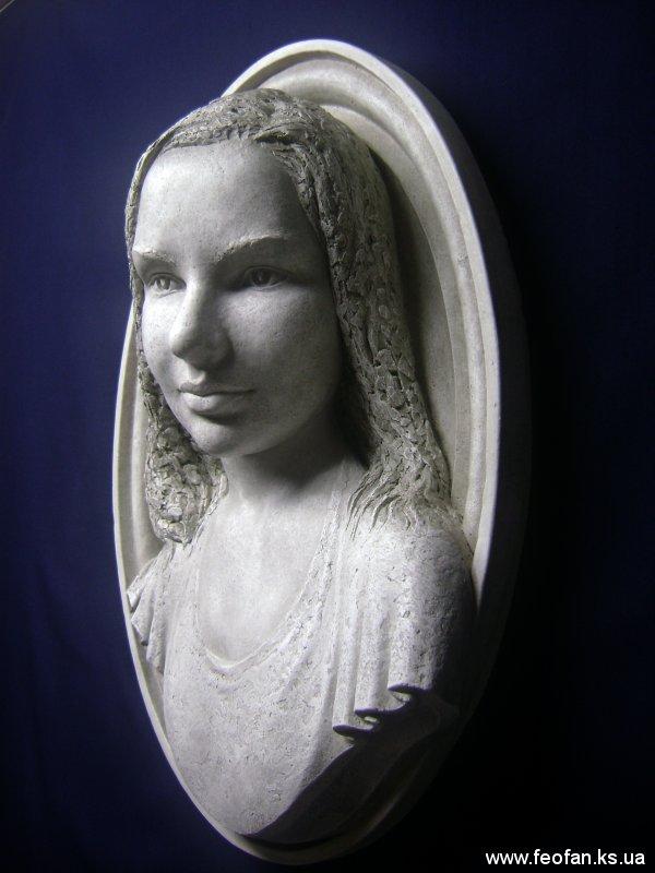 Портрет Марии Борисенко. Искусственный камень. Н-70см. 2008г.